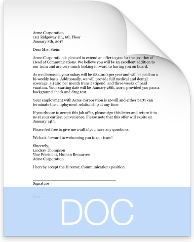 offer-letter-doc-preview Temp To Hire Offer Letter Template on temporary position, free employee, free real estate, internship job, free purchase, free sample job,