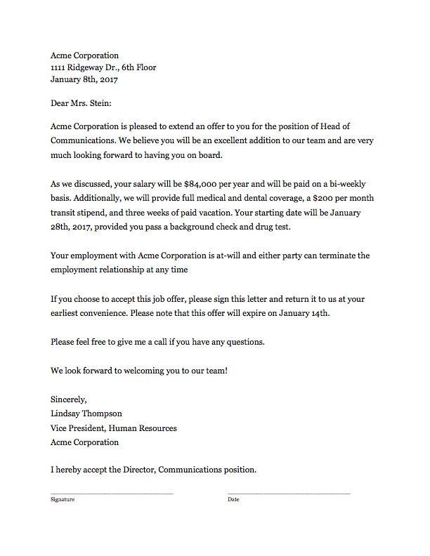 Offer Letter Template That Works ClickTime - Offer of employment letter template free