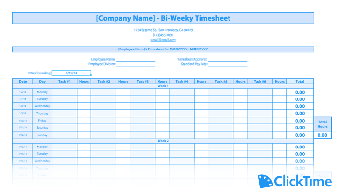 image relating to Free Printable Weekly Time Sheets called Absolutely free Timesheet Template Printable Timesheets ClickTime