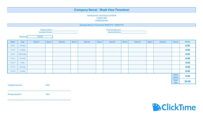 photograph regarding Free Printable Weekly Time Sheets titled Totally free Timesheet Template Printable Timesheets ClickTime