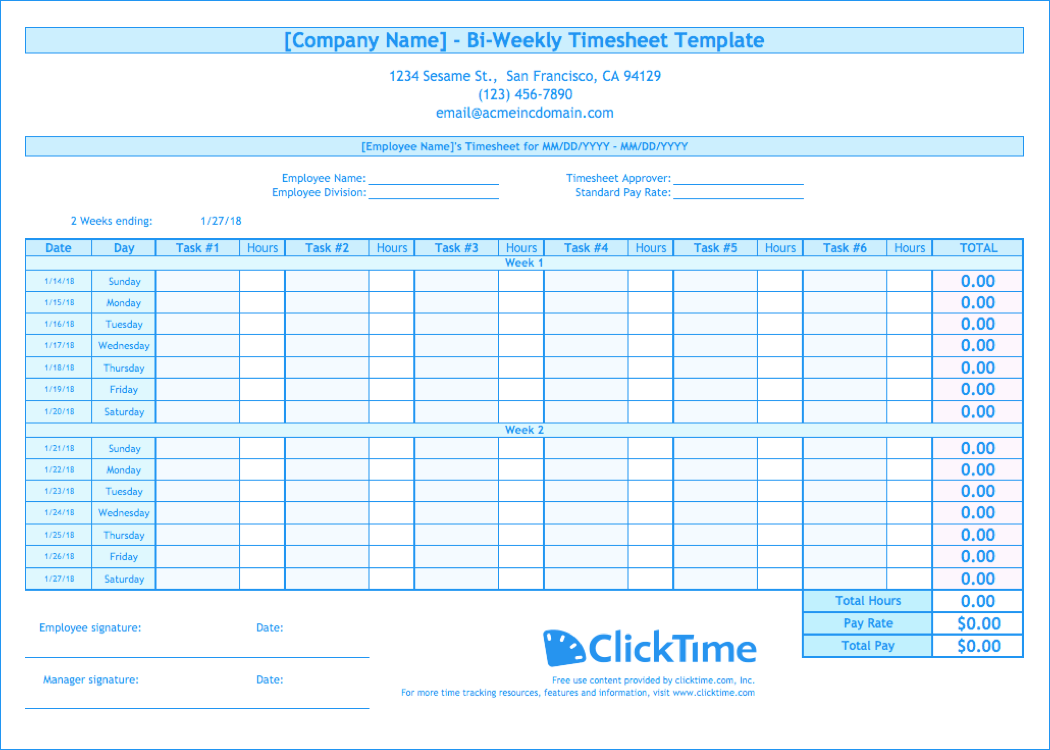 Biweekly timesheet template free excel templates clicktime for Multiple employee timesheet template free