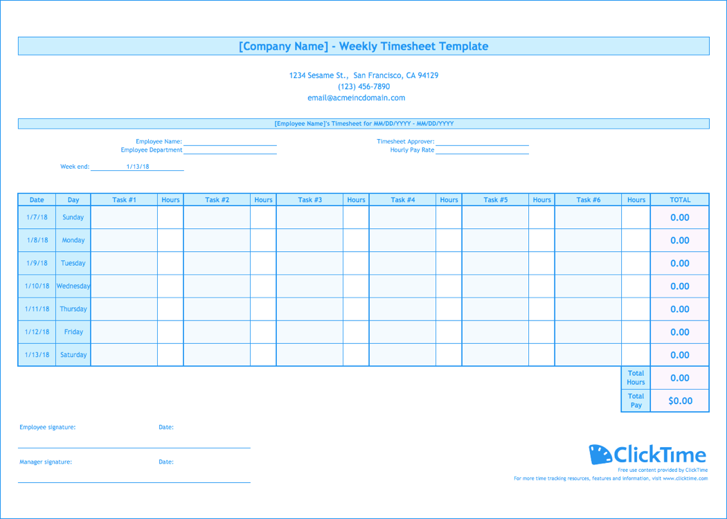 weekly timesheet template - Weekly Timesheet Template