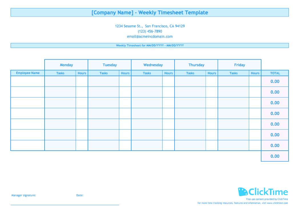 photo about Free Printable Timesheets titled Weekly Timesheet Template for Many Staff ClickTime