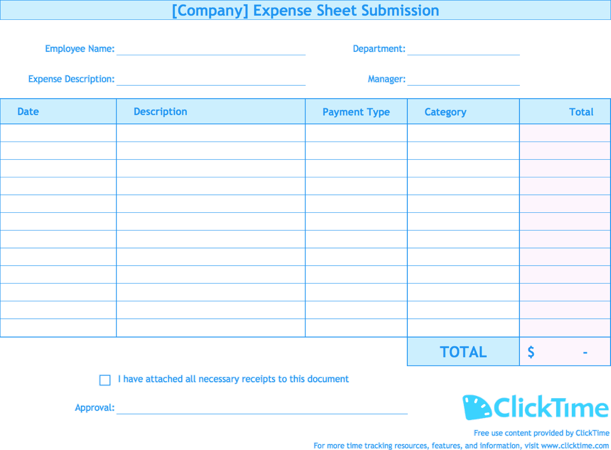 expense report template track expenses easily in excel clicktime