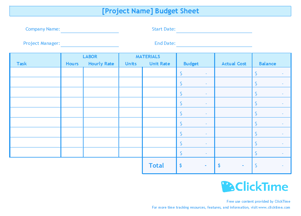 Business budget template plan project budgets with excel clicktime business budget template accmission Choice Image
